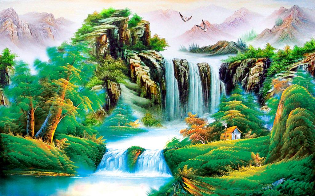 背景墙|装饰画 电视背景墙 中式电视背景墙 > 油画山水画风景画山水图片