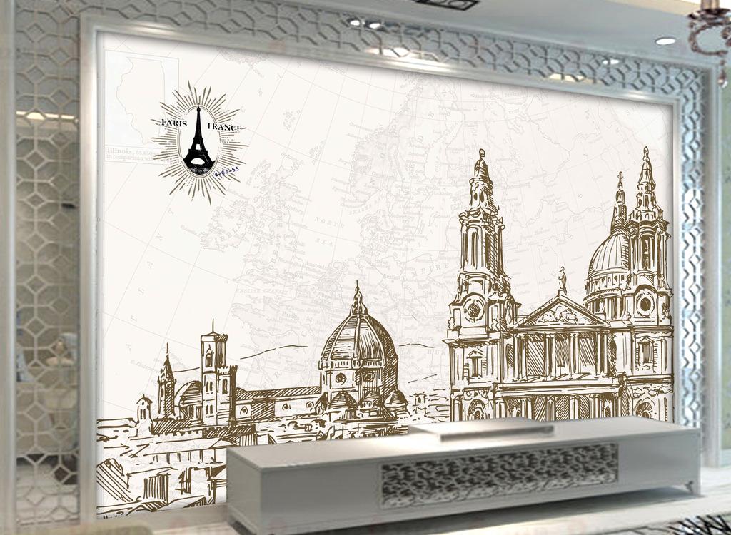 客厅欧式风格古典建筑背景墙装饰画