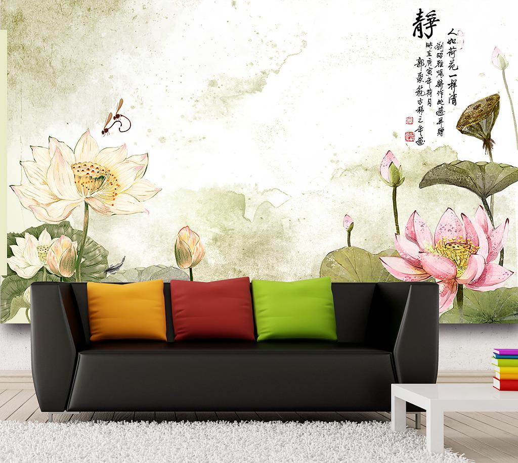 酒楼背景墙 家庭装饰画 客厅装饰画 沙发背景墙 荷花 荷叶 中式 国画图片