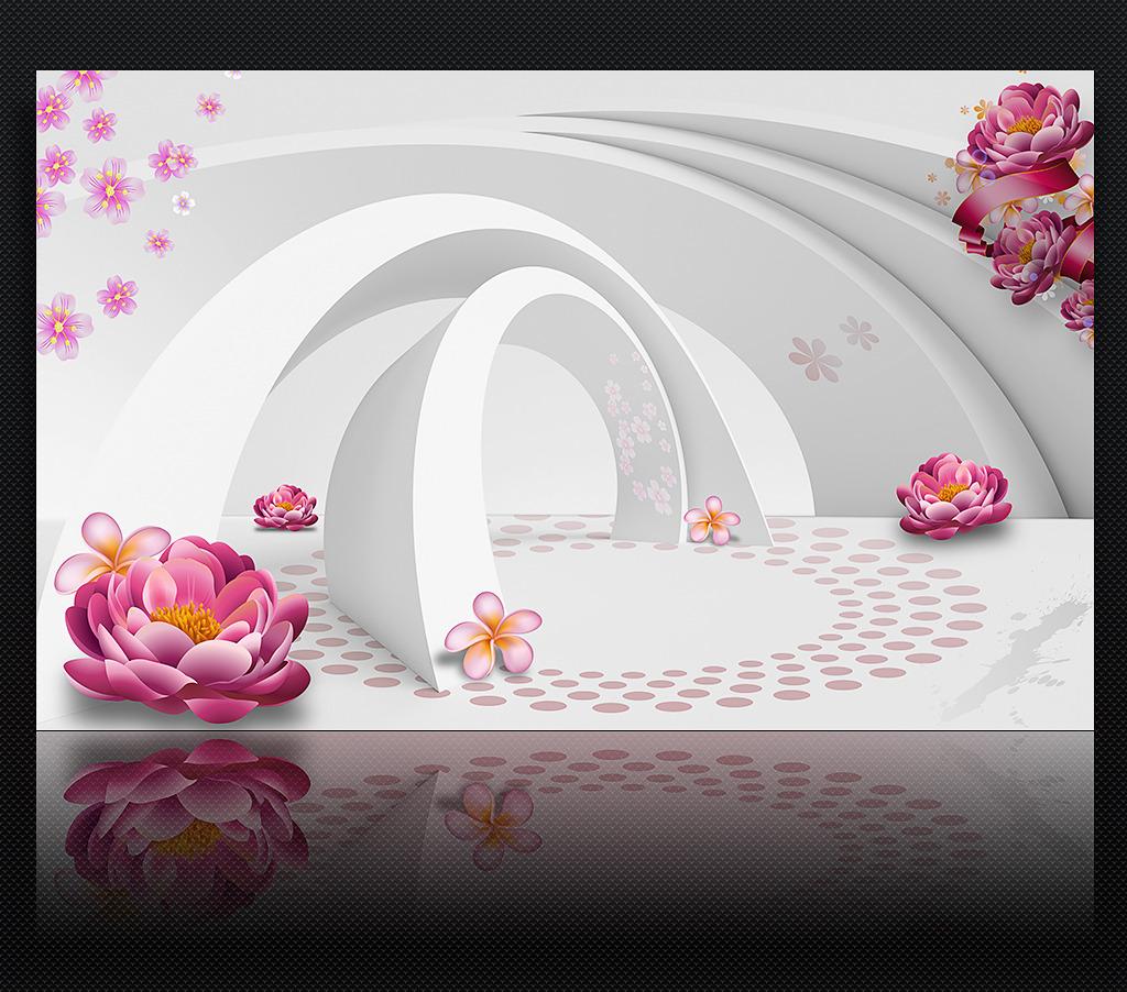 时尚梦幻花朵3d立体电视背景墙装饰画