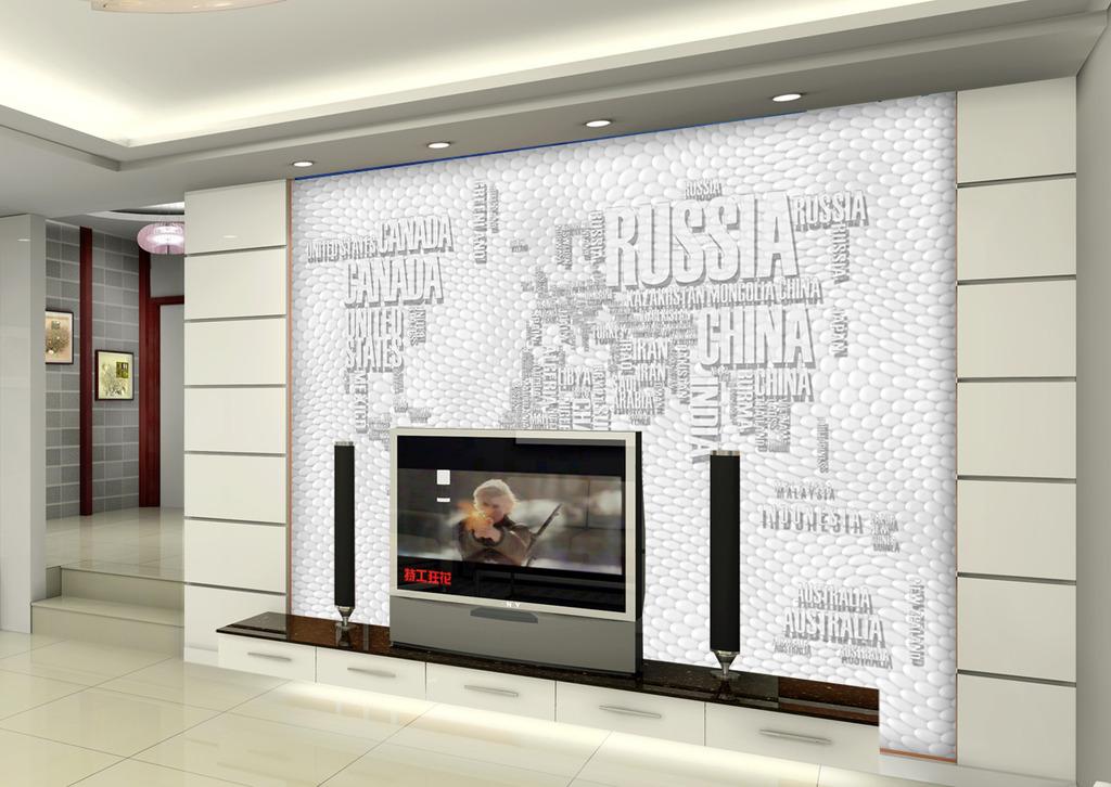 3d立体水晶效果世界地图电视背景墙