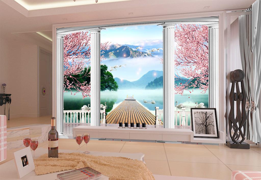 梦幻3d立体水乡风景罗马柱江南电视背景墙