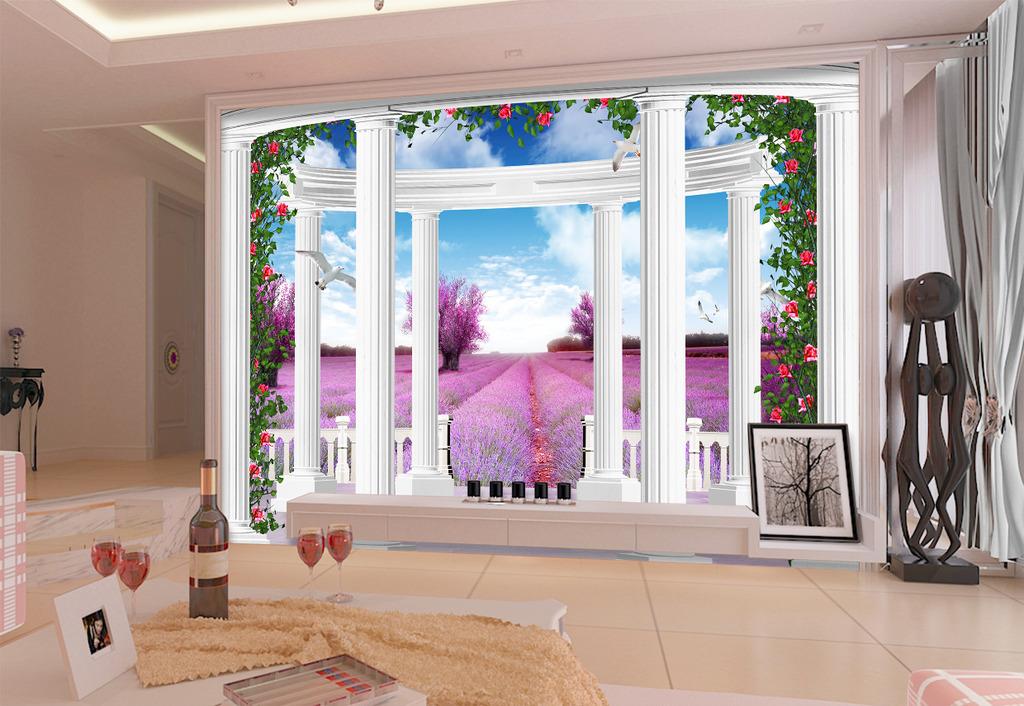 梦幻3d立体欧式风景罗马柱电视背景墙