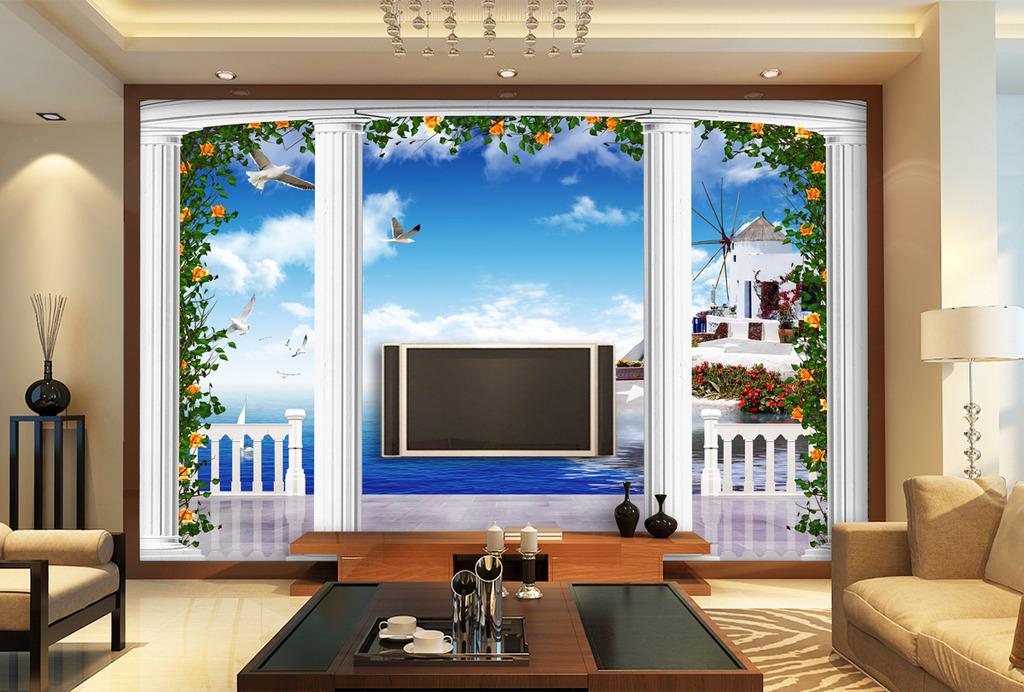 梦幻3d立体欧式希腊罗马柱电视背景墙