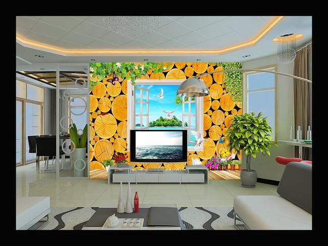 年轮立体海景电视背景墙壁画图片下载年轮木头树木树鸽子 白鸽 花