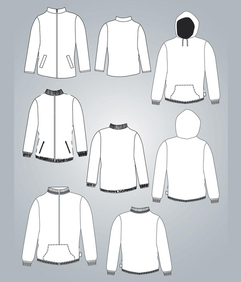 卫衣服装设计模板矢量素材