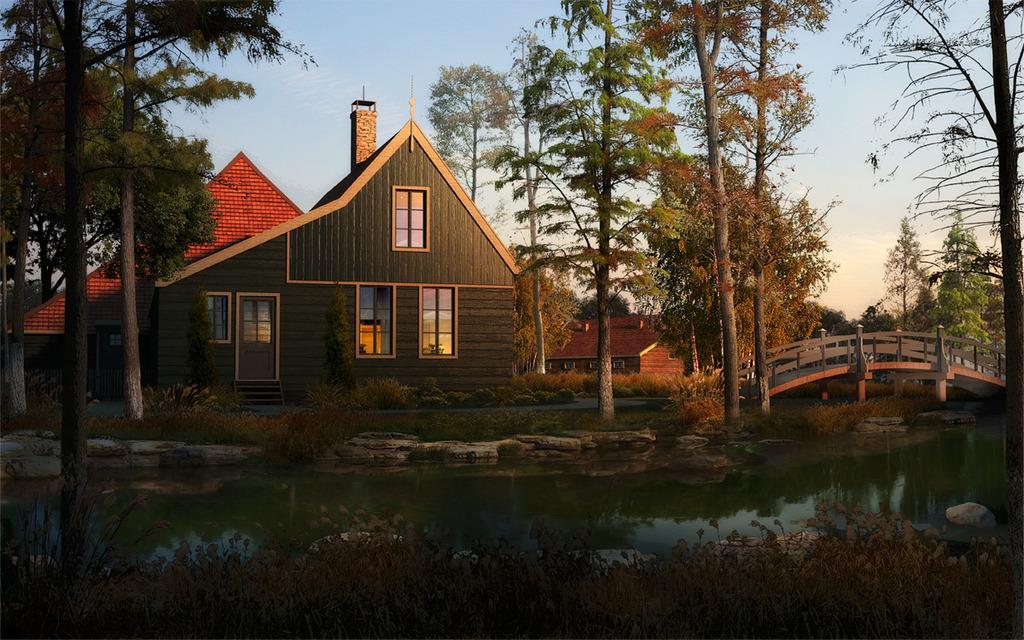 景区森林木屋景观设计效果图