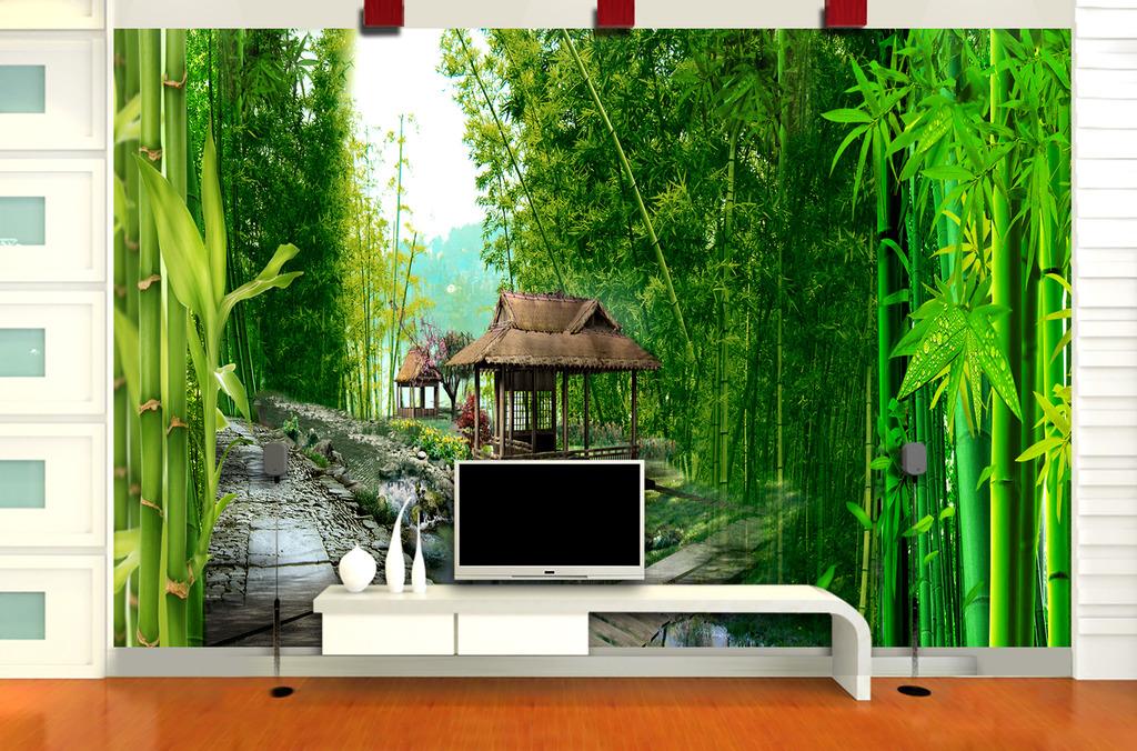 竹林凉亭电视背景墙