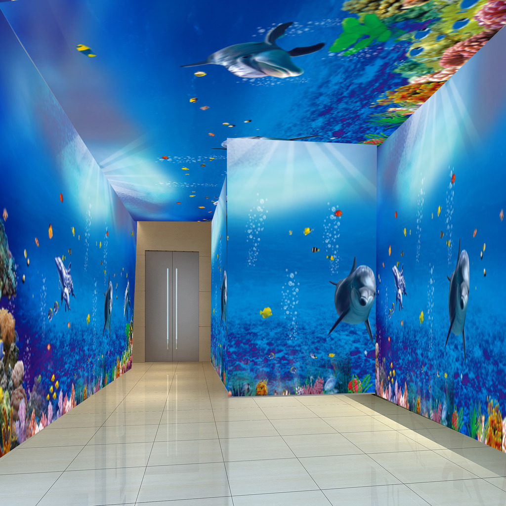 海底世界海洋馆海洋海豚觅觅壁画