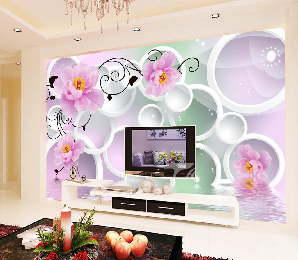 背景墙 电视 客厅 装饰画/[版权图片]客厅3D圆圈玫瑰倒影电视背景墙装饰画