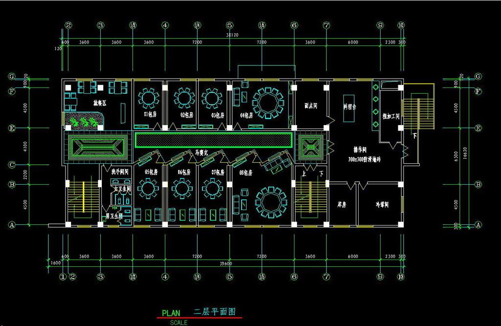 店面cad设计 cad素材 cad平面图cad剖面图餐厅 (1024x667)-餐厅