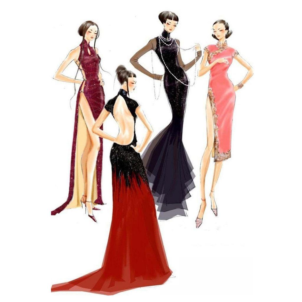 旗袍手绘插画 手绘时装插画 时尚潮流服装手绘稿 服装手绘效果图 服装