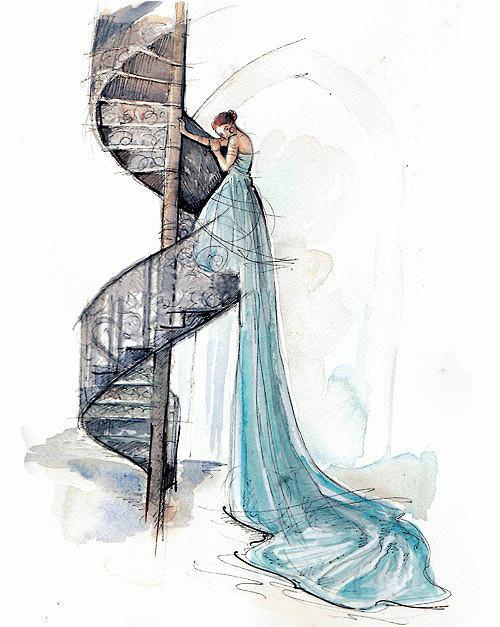 线描画人物婚纱