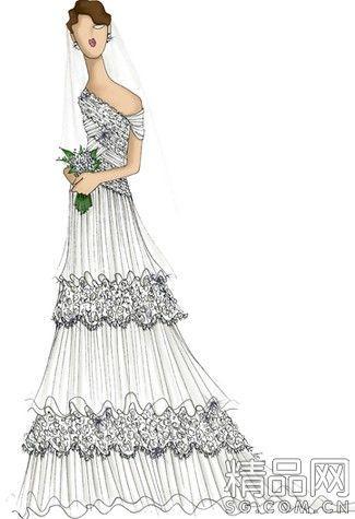 婚纱设计手感 设计手感 婚纱版型 素描设计手稿 线描设计手稿 创意