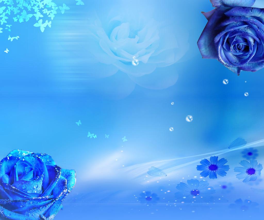 手绘蓝蔷薇