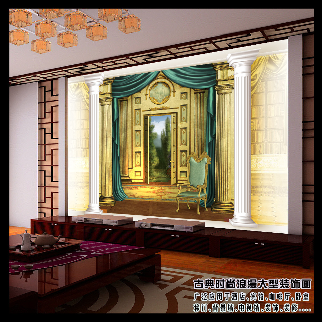 3d欧式风格客厅电视背景墙图片