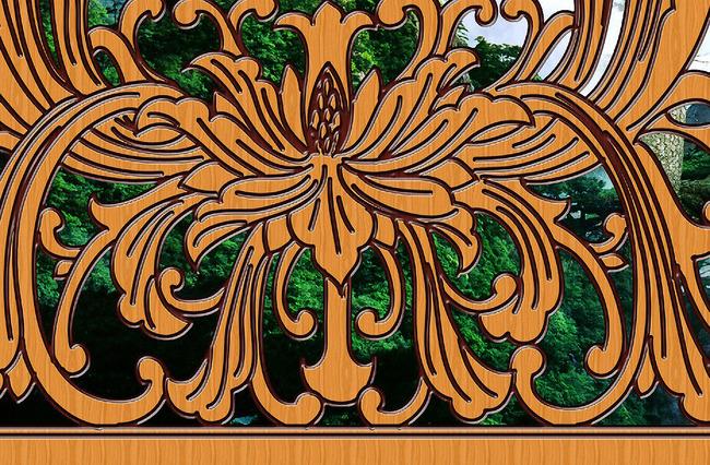 古典中国风立体木雕水墨山水画背景墙