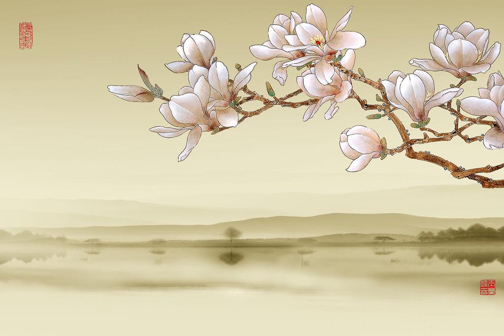 玉兰花开雅舍兰香梦幻花朵花卉电视沙发背景