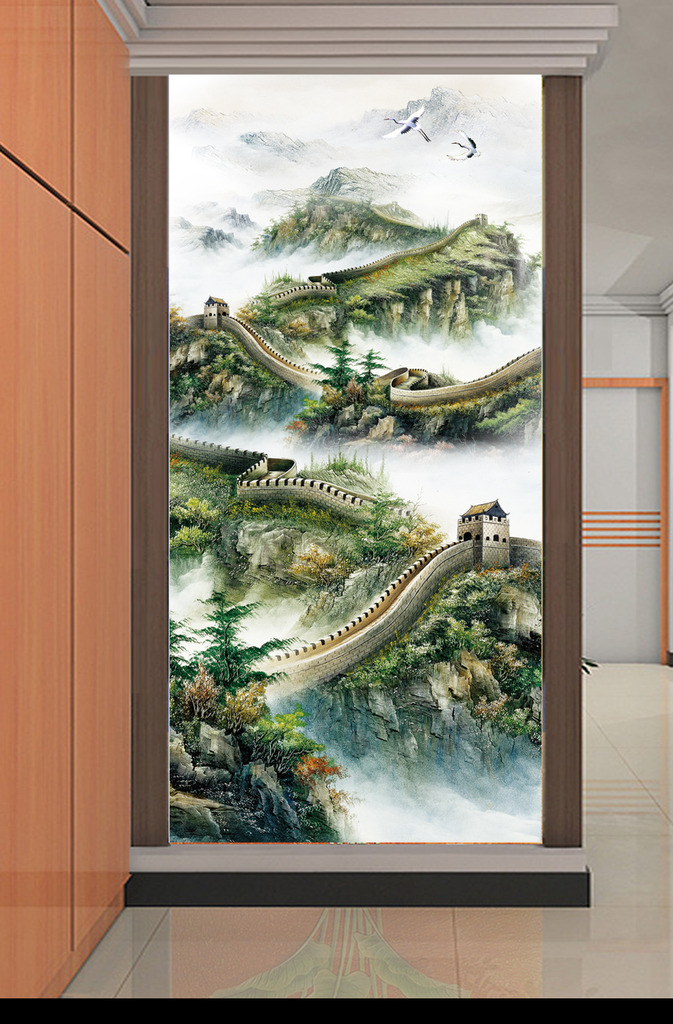 国画山水画万里长城山水风景画山水国画玄关图片下载 竖幅 竖式 挂轴