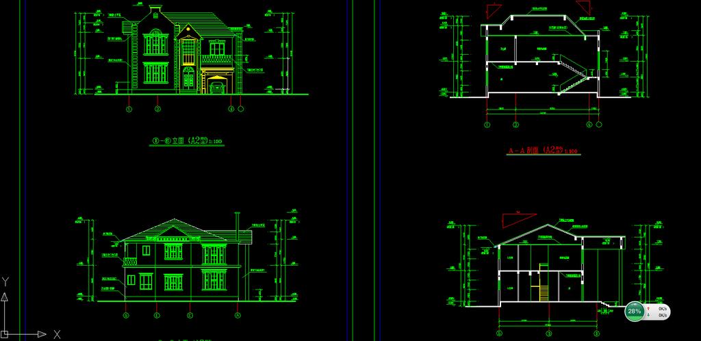 别墅设计图下载cad施工图模板下载