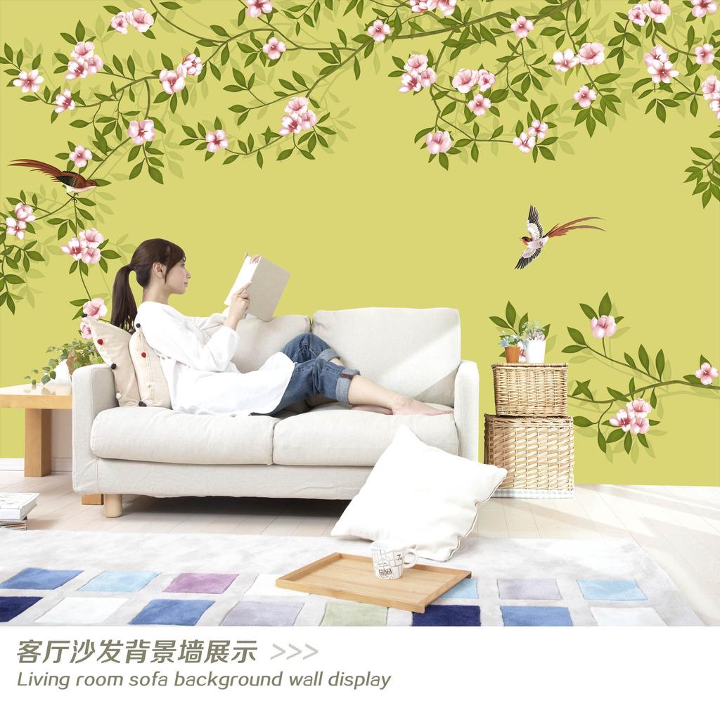 手绘花朵画电视背景墙装饰画