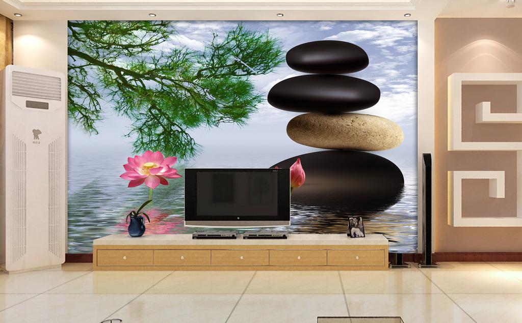 电视背景墙水上石头
