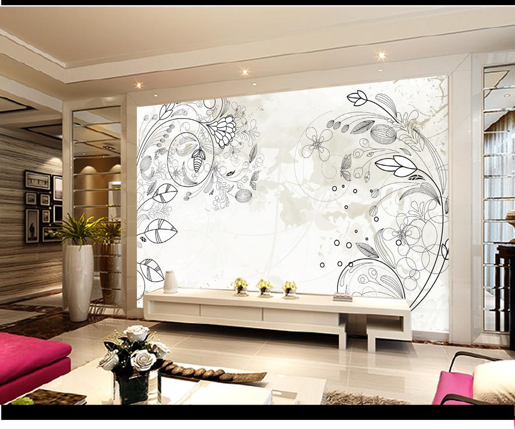 韩国风格手绘线条圆圈彩色背景墙