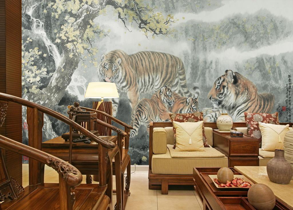 北京 丛林中/[版权图片]国画丛林中的老虎背景墙