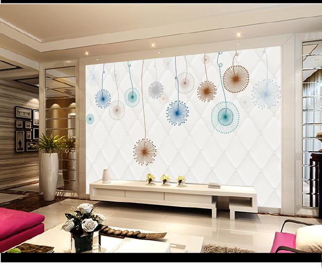 手绘花卉花朵电视背景墙装饰画模板