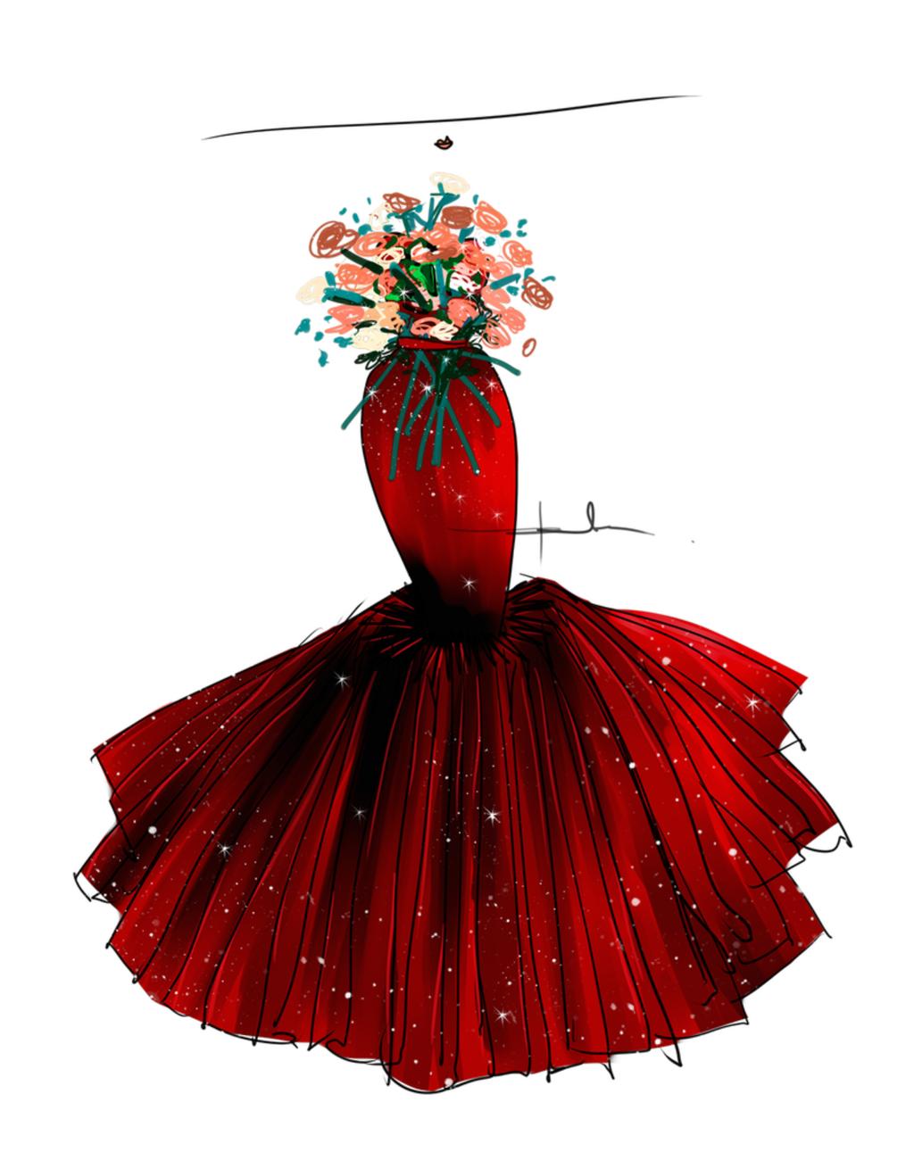礼服设计图手稿素描图片
