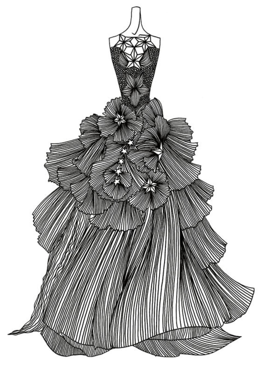 手绘图片铅笔画线条婚纱