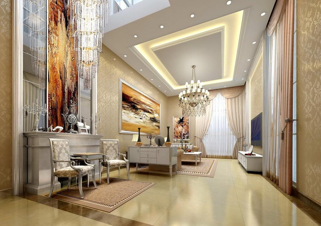 现代欧式客厅模板下载