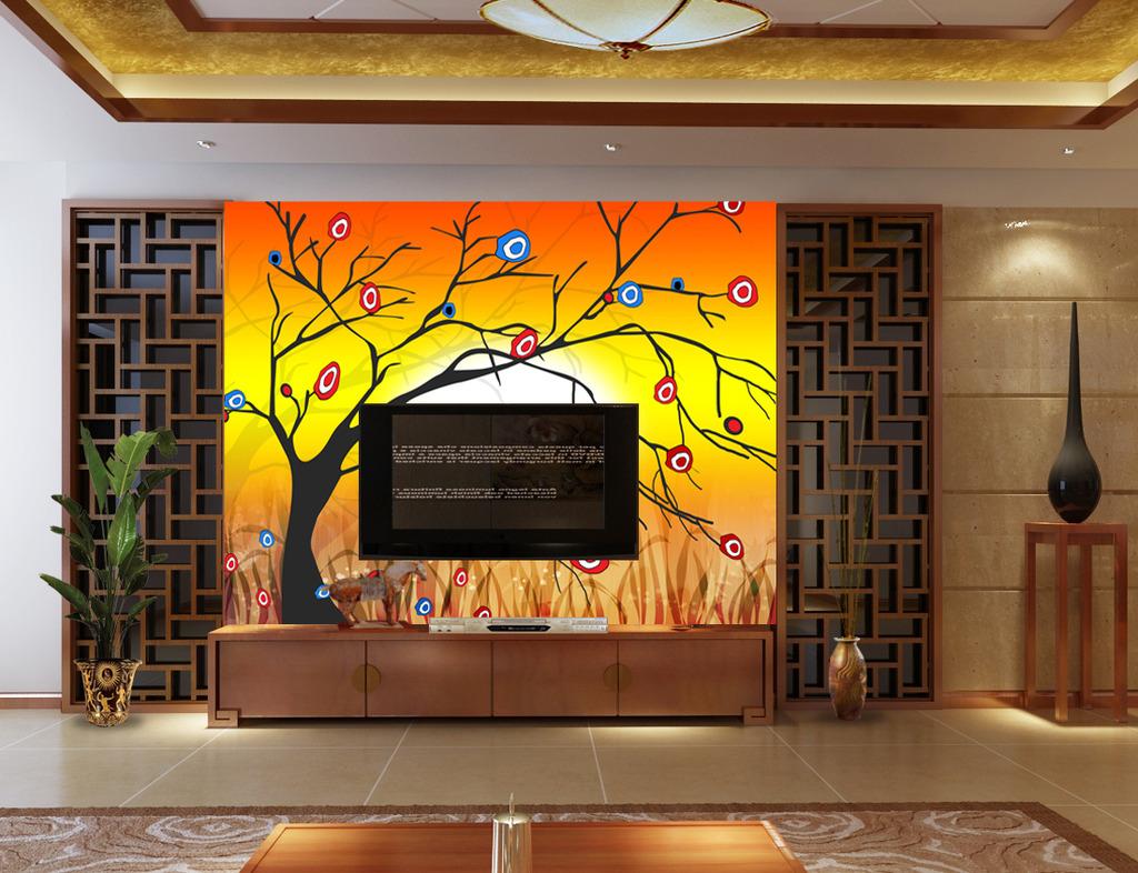 发财树摇钱树抽象手绘电视沙发客厅背景墙