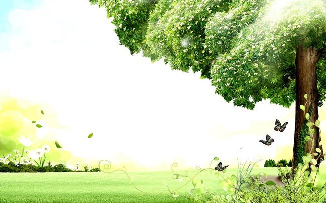 大榕树常青树水彩抽象手绘电视沙发客厅背景