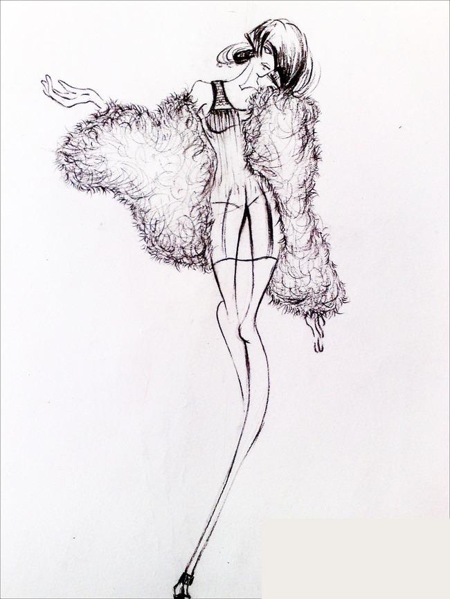 服装手绘设计图复古展示图片
