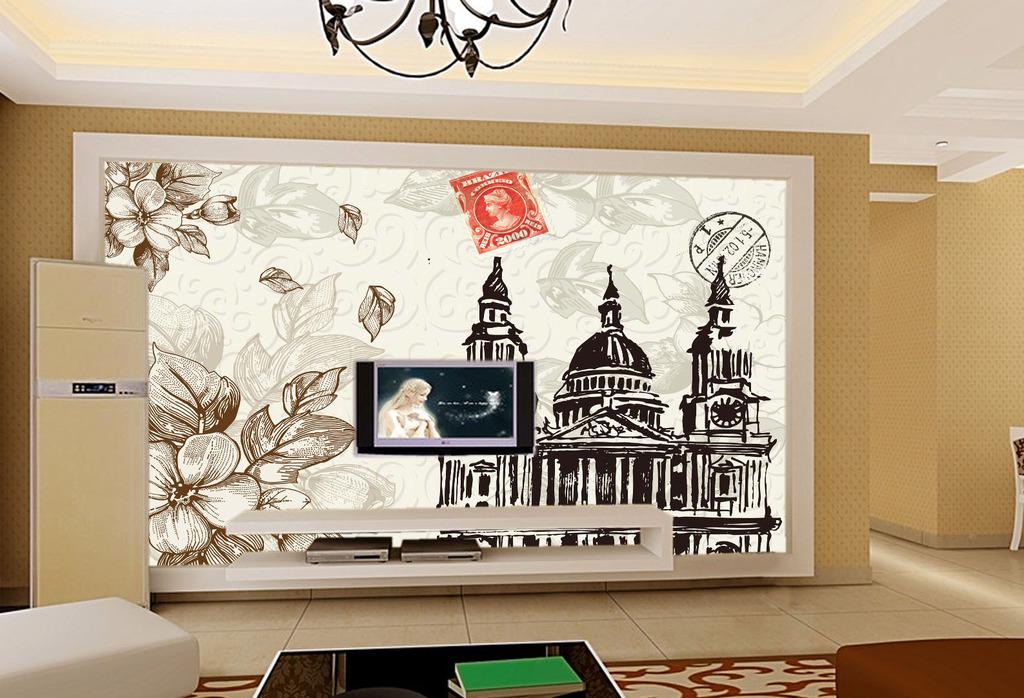 欧式古典电视背景墙图片