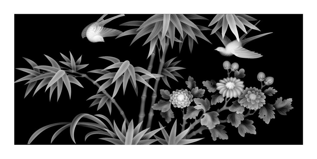 竹子精雕灰度图模板下载(图片编号:12018016)