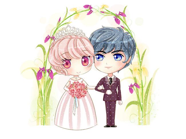 可爱结婚卡通小人