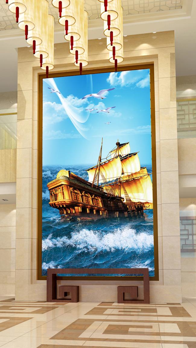 一帆风顺欧式油画轮船大海洋海鸥玄关