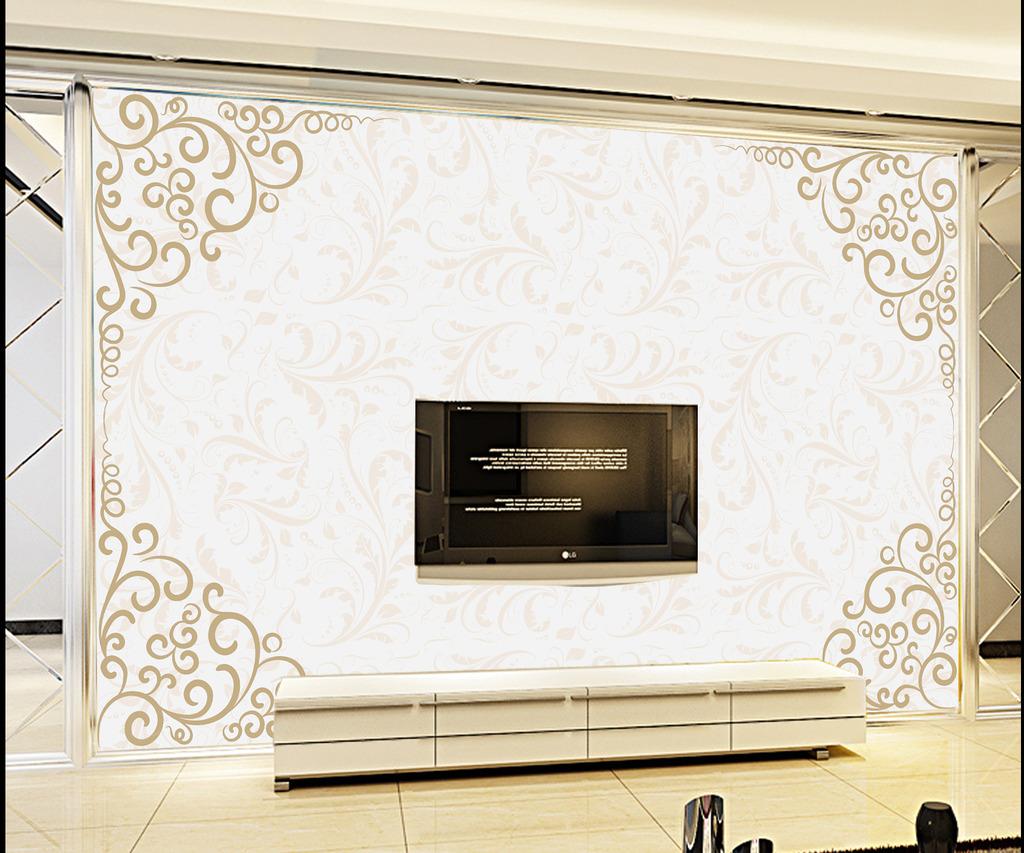 欧式风格客厅背景墙装饰画模板下载