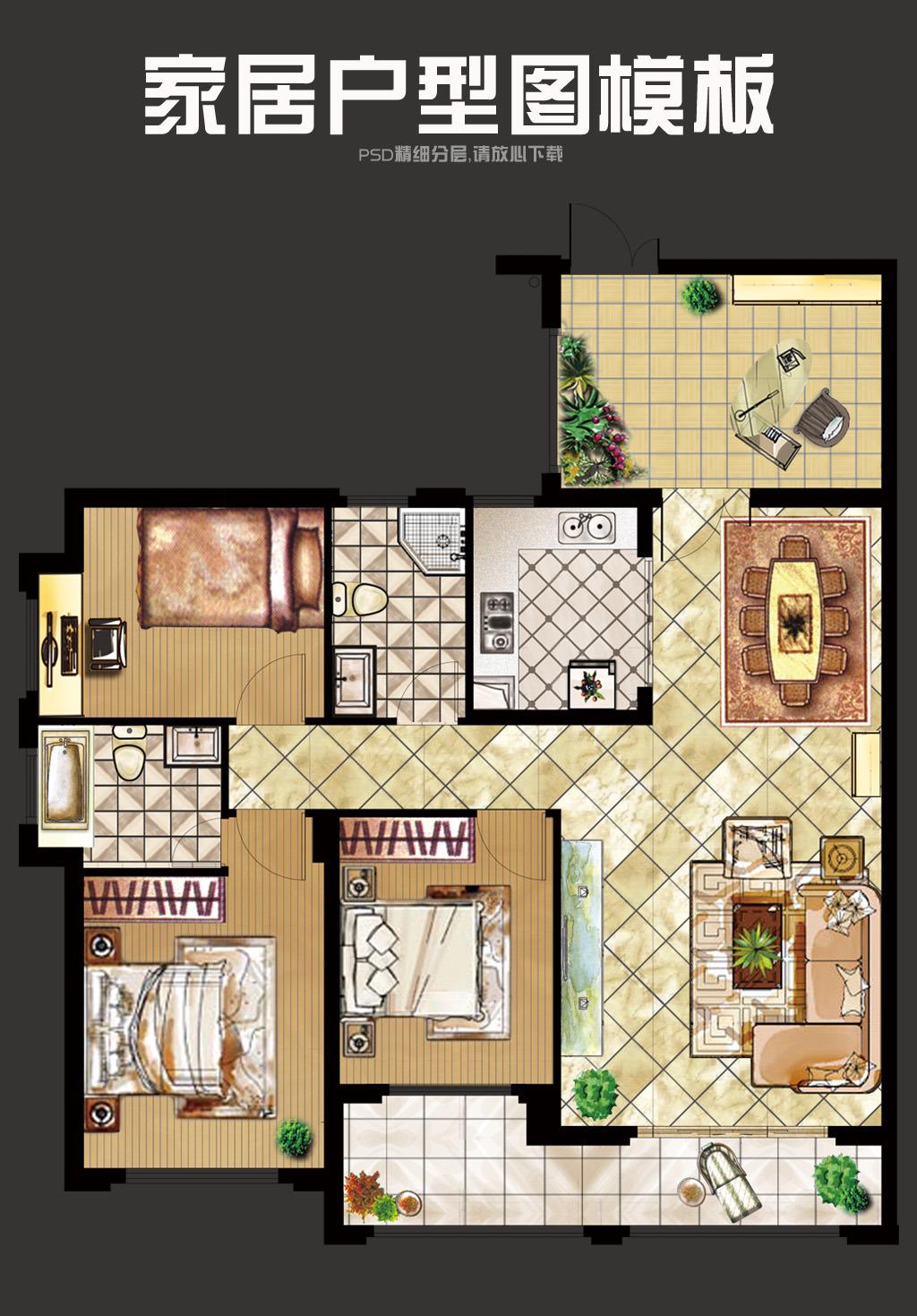 70平米两室一厅一厨一卫设计图展示