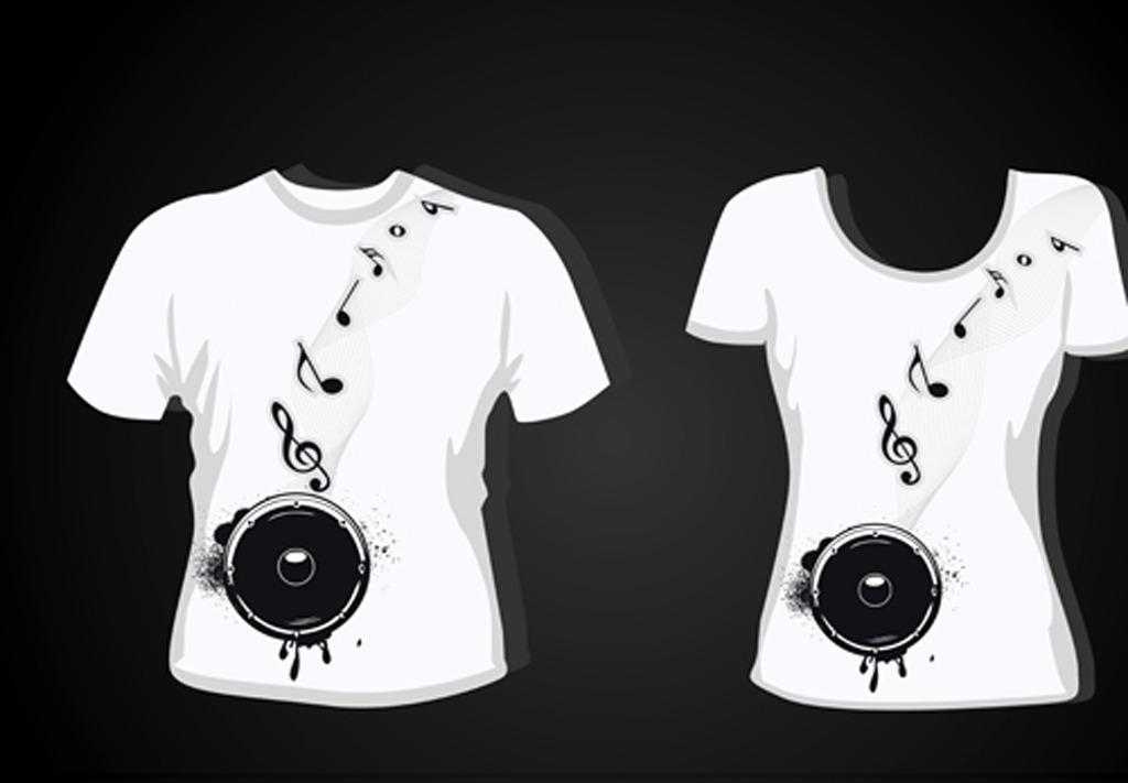 男女短袖t恤时尚图案设计