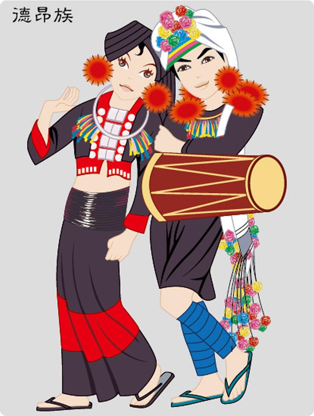 中国矢量民族服饰设计