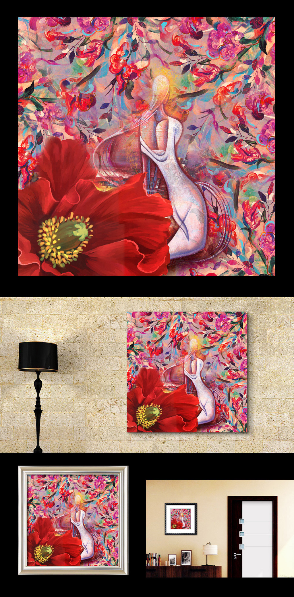 高清手绘复古抽象印象派欧美油画