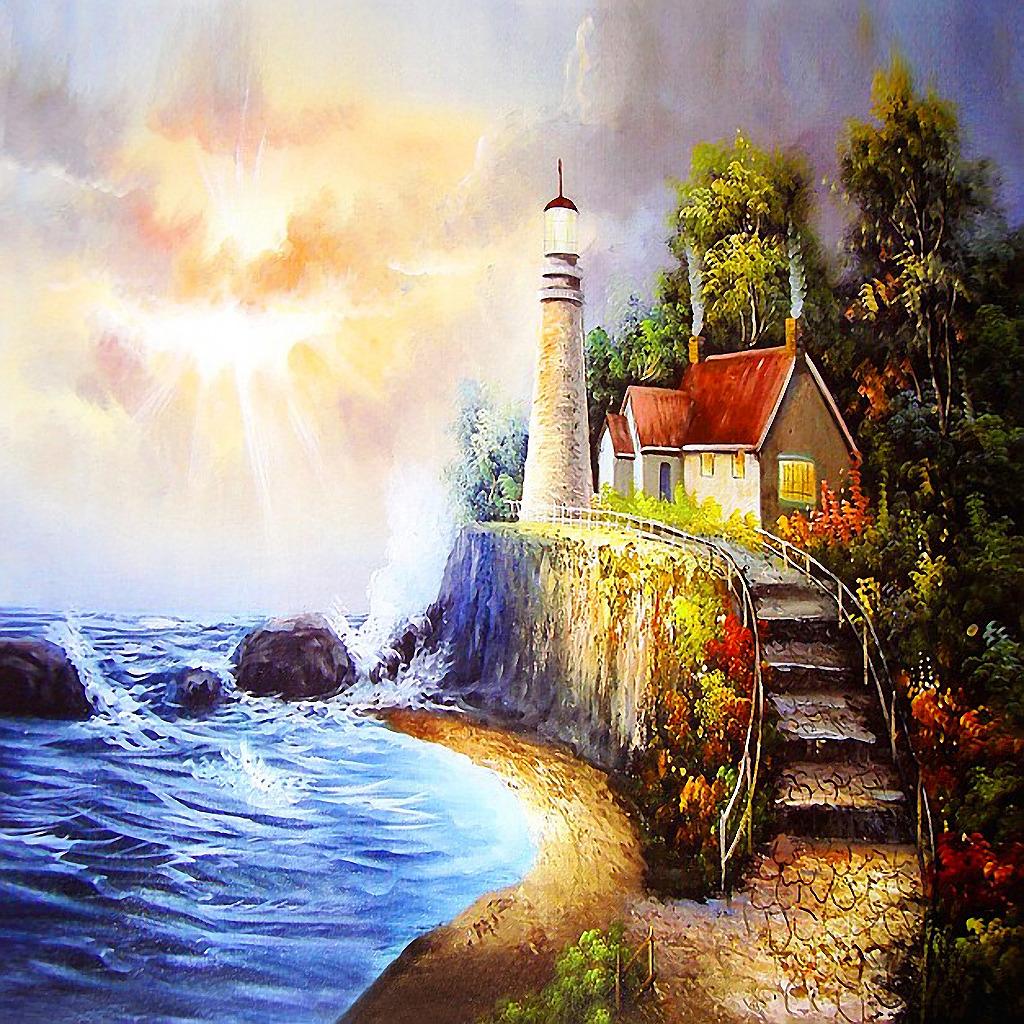 房子 灯塔 田园风光 风景 景色 树木 树林 阶梯 楼梯 手绘 正方形