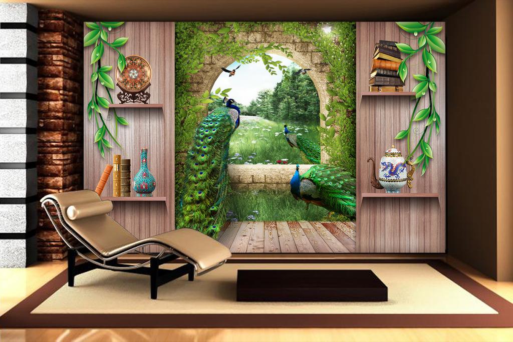 欧式3d立体罗马柱孔雀宫殿木板电视背景墙图片