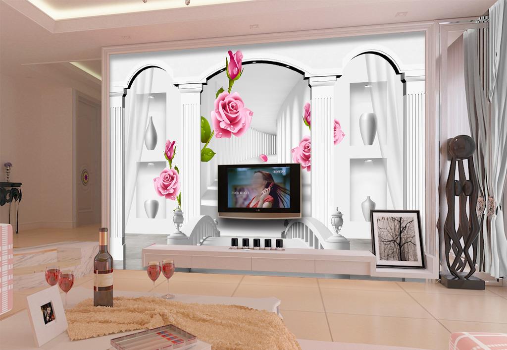 欧式3d立体罗马柱宫殿玫瑰电视背景墙