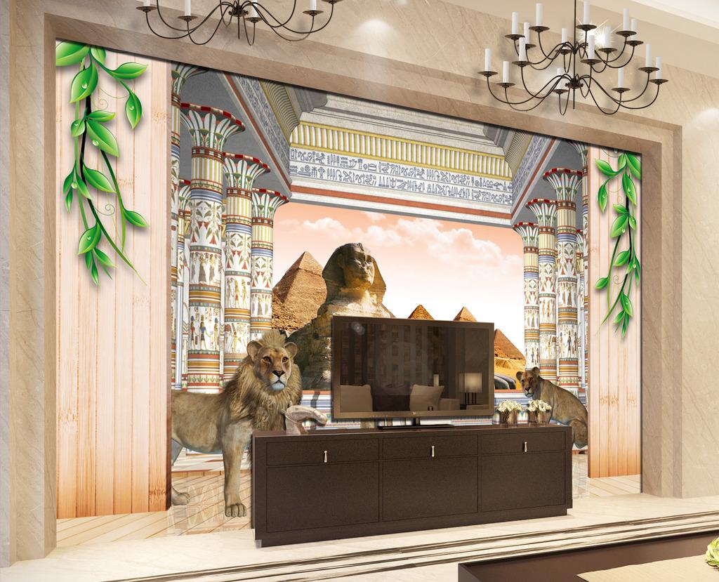 欧式3d立体罗马柱宫殿电视背景墙