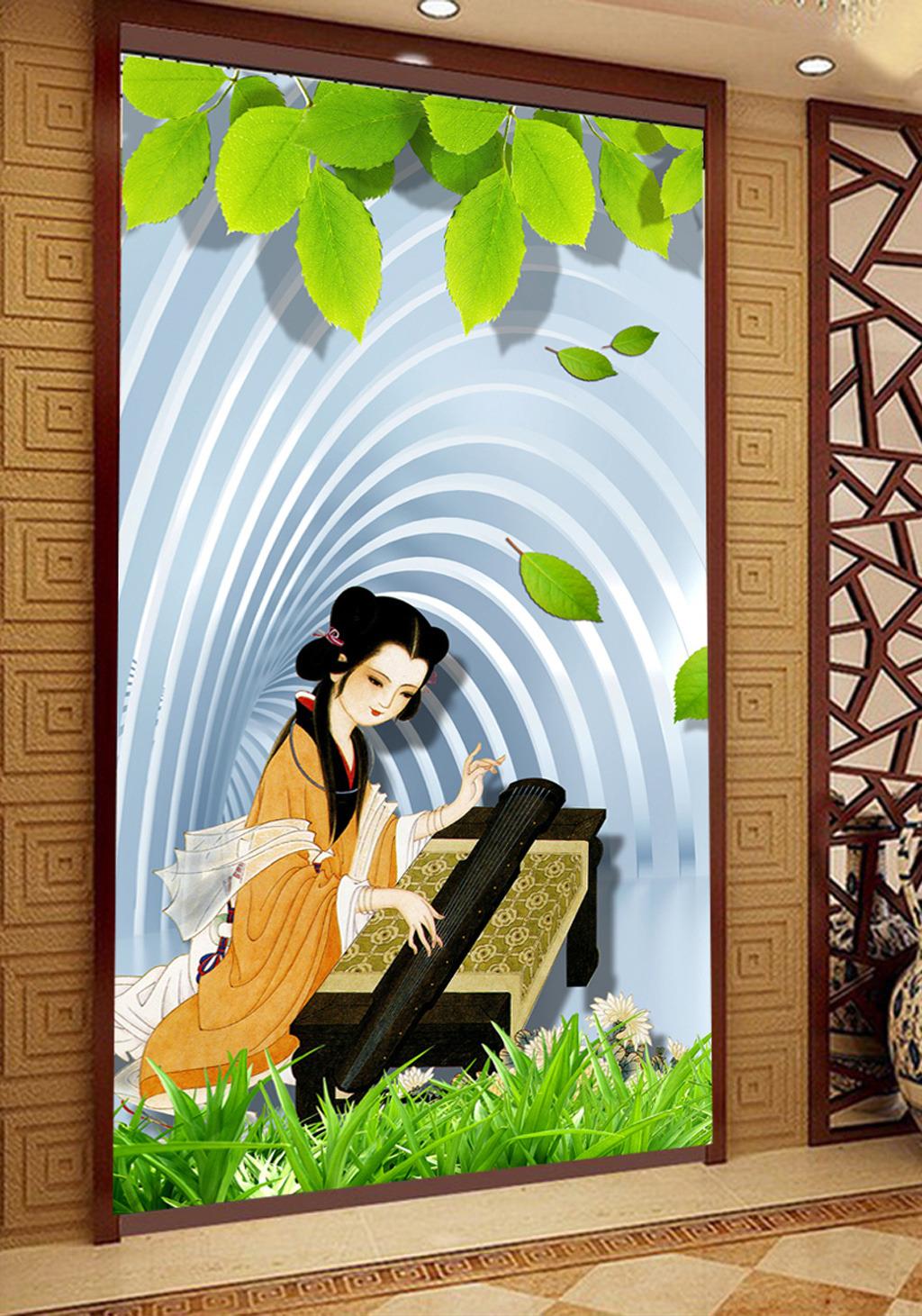 3d立体古代美女仕女图树叶效果玄关背景墙