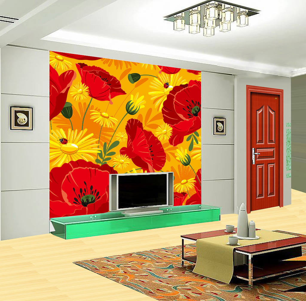 壁纸/[版权图片]时尚花瓣电视机背景墙